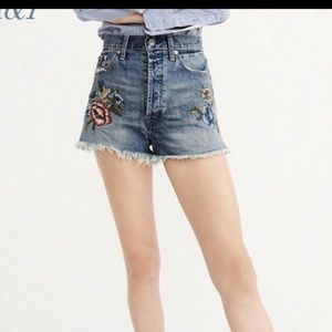 Abercrombie embroidered rise waisted jean shorts